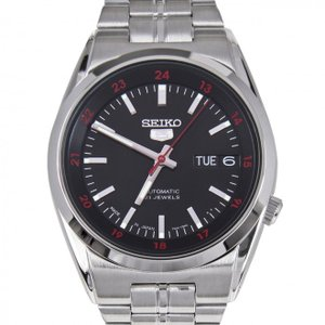 SEIKO 5 セイコー5 逆輸入 日本製 自動巻き メンズ 腕時計 SNK569J1 ブラック×シルバー メタルベルト MADE IN JAPAN  電池交換不要|hapian