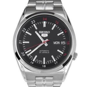 SEIKO 5 セイコー5 逆輸入 日本製 自動巻き メンズ 腕時計 SNK571J1 ブラック×シルバー メタルベルト MADE IN JAPAN  電池交換不要|hapian