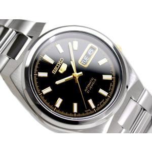 SEIKO 5 セイコー5 逆輸入 日本製 自動巻き メンズ 腕時計 SNKC57J1 ブラック×ゴールド メタルベルト|hapian