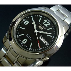 SEIKO 5 セイコー5 逆輸入 日本製 自動巻き メンズ 腕時計 SNKE63J1 ブラック×シルバー メタルベルト|hapian