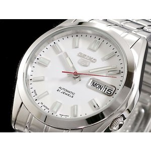 SEIKO 5 セイコー5 逆輸入 日本製 自動巻き メンズ 腕時計 SNKE79J1 ホワイト×シルバー メタルベルト|hapian
