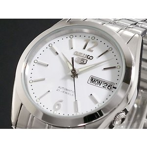 SEIKO 5 セイコー5 逆輸入 日本製 自動巻き メンズ 腕時計 SNKE93J1 ホワイト×シルバー メタルベルト|hapian