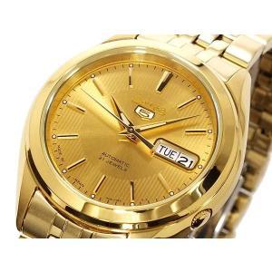 SEIKO 5 セイコー5 ファイブ 逆輸入 日本製 自動巻き 電池交換不要 メンズ 腕時計 SNKL28J1 ゴールド メタルベルト|hapian