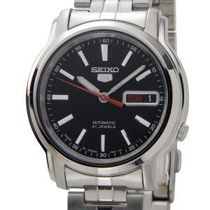 SEIKO 5 セイコー5 ファイブ 逆輸入 日本製 自動巻き 電池交換不要 メンズ 腕時計 SNKL83J1 ブラック×シルバー メタルベルト|hapian