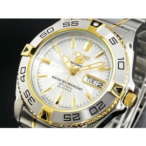 セイコー SEIKO 5 SPORTS スポーツ 逆輸入 日本製 自動巻き メンズ 腕時計 SNZB24J1 シルバー×ゴールド メタルベルト|hapian