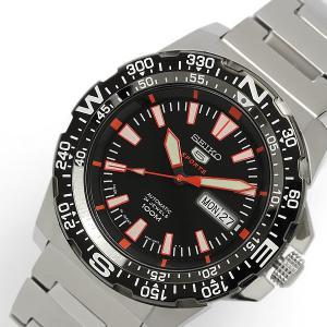 日本製 made in japan SEIKO セイコー5 スポーツ メンズ 自動巻き式 腕時計 IPブラックベゼル ブラック×レッドダイアル SRP541J1|hapian