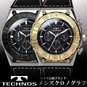 メンズ 腕時計 クロノグラフ ウォッチ ブランド TECHNOS 革ベルト T1206 hapian