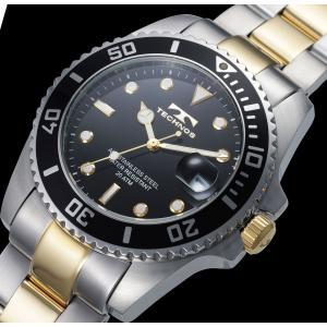 【メーカー正規品】TECHNOS テクノス 腕時計 メンズ 20気圧防水 回転ベゼル メンズ クォーツ T2118TB ブラック|hapian