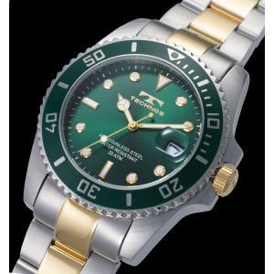 【メーカー正規品】TECHNOS テクノス 腕時計 メンズ 20気圧防水 回転ベゼル メンズ クォーツ T2118TM グリーン|hapian