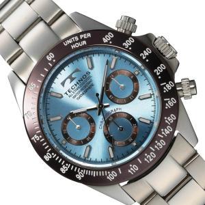 【メーカー正規品】TECHNOS テクノス 腕時計 メンズ クロノグラフ ステンレスベルト メンズクオーツ腕時計 T4251AI アイスブルー|hapian