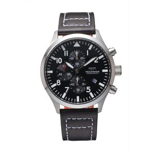 【メーカー正規品】TECHNOS テクノス クロノグラフ メンズ 腕時計 レザーバンド クロノグラフ 男性用 クォーツ 多針アナログ T4553SB ブラック|hapian