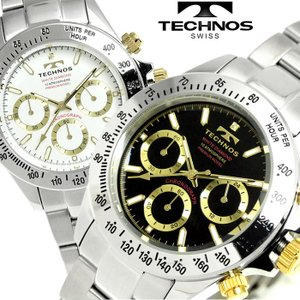 TECHNOS テクノス 腕時計 メンズ メンズ腕時計 クロノグラフ 限定プレミアモデル T4683 ホワイト ブラック|hapian