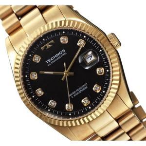 【メーカー正規品】TECHNOS テクノス 高級感 腕時計 ラウンド デイト コンビ メンズ クォーツ T9604GB ゴールド|hapian