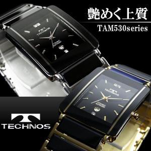 テクノス TECHNOS スクエア セラミック メンズ腕時計 TAM530 TAM530TB TAM530GB|hapian