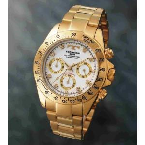 【メーカー正規品】TECHNOS テクノス 腕時計 クロノグラフ 10気圧防水 メンズ TGM639GW ゴールド/ホワイト|hapian