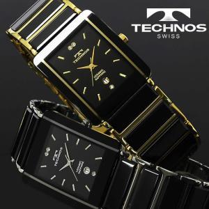 腕時計 メンズ 時計 テクノス 防水 TECHNOS セラミック スクエア TSM903 hapian