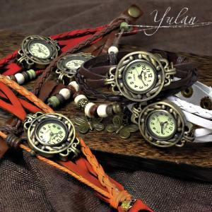 ミサンガウォッチ 腕時計 レディース ボヘミアン レザー ブレスレット かわいい hapian