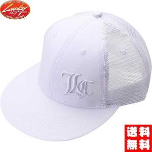 ラッキークラフト(LUCKY CRAFT)LCフラットポップキャップ白&白色サイドロゴ|hapinetangler