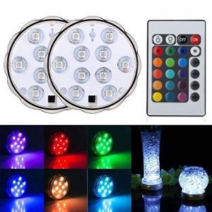 BigFox LED潜水ライト 水中LEDライト 10電球 リモコン付き 配線不要 防水 花瓶 水槽照明 水族館照明 イルミネーションおしゃれ(ライト|happiness-store1