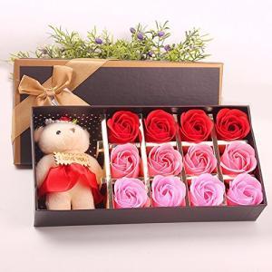 Menshow(メンズショウ) 母の日 花 熊のぬいぐるみ 石鹸の花 枯れない花 クマ付き 綺麗な花束 造花 ソープフラワー ローズフラワー 贈り物|happiness-store1