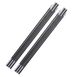 「2本セット」 テントポール 分割式 ガラス繊維 タープ サンシェルターサポートロッド 天井フレームキット 軽量 キャノピー 中空ポール ブラック|happiness-store1