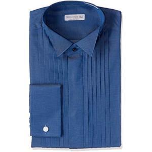 [ドレスコード101] ワイシャツ ウィングカラーシャツ 結婚式・パーティーにピッタリ フォーマル 長袖 SHDC40 メンズ ブルー 首回り37×裄 happiness-store1