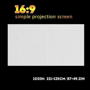 60/72/84/100/120inch 16:9プロジェクタースクリーン プロジェクションカーテン 折りたたみ式 壁掛け 持ち運び簡単 家庭用 会議 happiness-store1