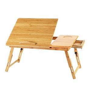 ノートパソコンデスク PCスタンド 竹製 ベッドテーブル ソファーテーブル 角度 高さ調節可 折りたたみ式 引き出し付き 14インチノートパソコン対応 happiness-store1