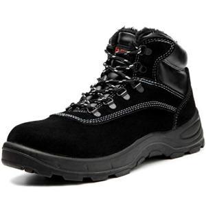 [ブルーポメロ] 安全靴 ハイカット あんぜん靴 作業靴 メンズ 防寒 黒 通気 滑り止め 耐油 裏起毛タイプ 621ブラック 27|happiness-store1