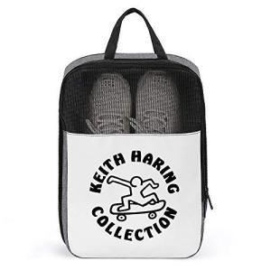 靴袋 キース ヘリング シューズケース コレクションケース 旅行靴収納 シューズバッグ シューズ袋 トラベル 履き替え 半透明 防塵 靴入れ 小物入れ|happiness-store1