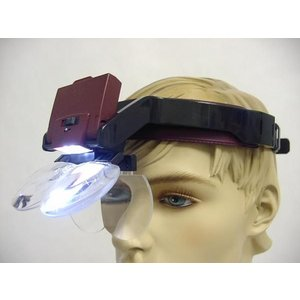 LED 2灯式 拡大鏡 ヘッドルーペ 手元ハッキリ 眼鏡 81001-B|happiness2014