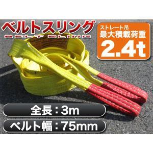 耐荷2.4t/75mm×3mナイロンスリングベルトスリング 玉掛作業・吊り作業 スリング黄3M-75MM|happiness2014