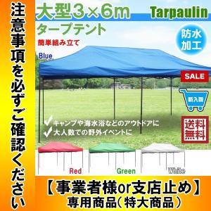 タープテント 6×3m 簡単組立 ワンタッチ 頑丈フレーム ...