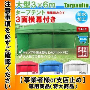 タープテント 6×3m 簡単組立 ワンタッチ 3面 横幕付 ...
