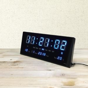 置き時計 LED 多機能 スクエア デジタルクロック 壁掛け クロック アラーム機能 カレンダー 温...