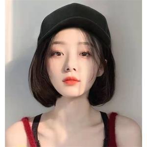 レディース 一体型帽子用 カール wig  小顔効果  ボブ/bob ショットマリンキャップ 帽子付...