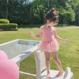2色 超可愛子供服  チュール刺繍一体型ワンピース水着 女子 女児  子供 海水浴 練習 温泉 水着...