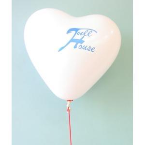 オリジナル・シルク印刷ハート型ゴム風船+25cmワンタッチ棒or24cmリングスティック  |happy-balloon