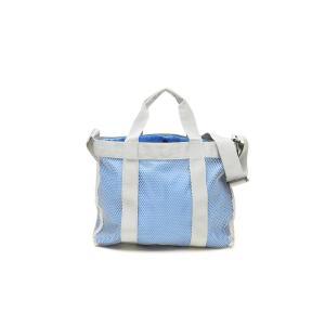 スイミングトートバッグ 外側メッシュ 内側巾着 無地ブルー|happy-clover