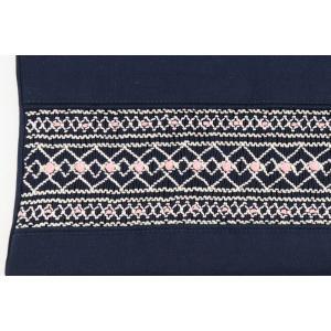 手刺繍スモッキング ローズ柄 紺色布製レッスンバッグ Lサイズ|happy-clover