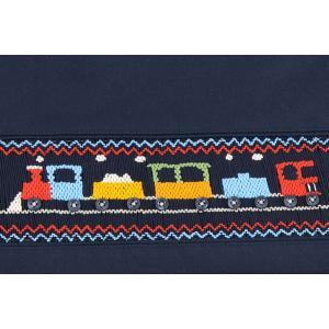 手刺繍スモッキング 汽車柄 紺色布製レッスンバッグ|happy-clover