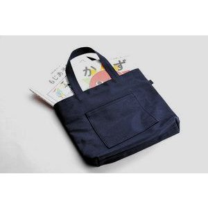 幼稚園受験の絵本バッグに最適サイズ 紺色布製レッスンバッグ 小|happy-clover