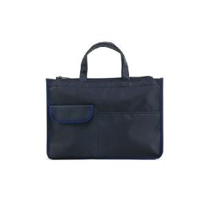 入口ファスナー付 紺色ナイロン製 レッスンバッグ|happy-clover