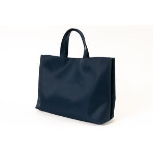 完全自立型バッグ ナイロンサテンビッグトート シンプル無地タイプ 紺 当店オリジナル正規品|happy-clover