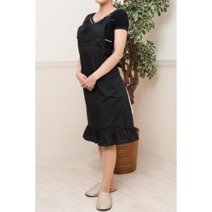 完全日本製 お母様用刺繍フリルエプロン 黒|happy-clover