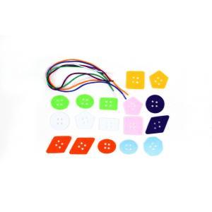 フェルト教材 ボタンひもとおし練習セット 7種の平面図形の17種のボタン|happy-clover