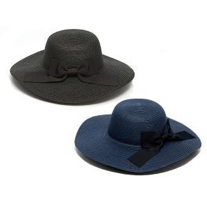 つば広で小顔効果! 女優ママ帽 UVリボン帽子 紺/黒|happy-clover