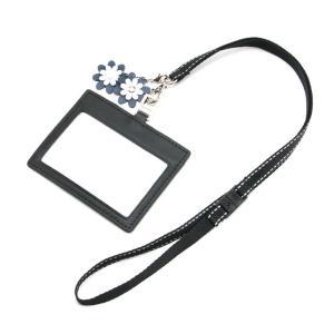 ポスト投函送料無料 本革製フラワーチャーム付きネックストラップとIDカードケースセット|happy-clover