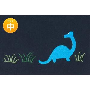 手刺繍 巾着バッグ 恐竜 中 お着替え入れなどに|happy-clover
