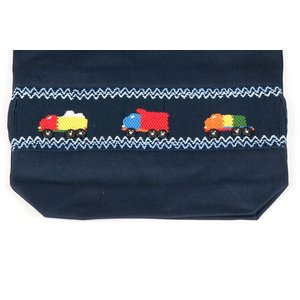 手刺繍スモッキング トラック柄 紺色布製巾着バッグ|happy-clover